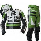 MEN Black Green Motorcycle RACING Leather Suit Jacket Hump Pants For Kawasaki