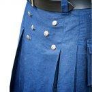 Size 32 Blue Cotton Kilt Modern Utility Cargo Pockets Kilt