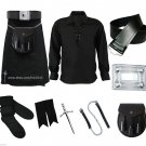 8 in 1 Kilt Deal Black Tartan kilt, Jacobite Shirt, Belt, Sporran, Pin, Flashers, Hose and Buckle