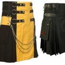 Black & Yellow Hybrid Utility Kilt for Men, Plus Black Leather Straps Kilt (2 in 1) 46 Size