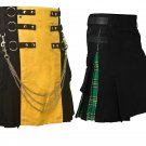 Black & Yellow Hybrid Utility Kilt for Men, Plus Black & Green Utility Kilt Deal (2 in 1) 46 Size