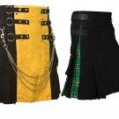 Black & Yellow Hybrid Utility Kilt for Men, Plus Black & Green Utility Kilt Deal (2 in 1) 50 Size