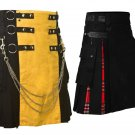 42 Size Black & Yellow Hybrid Utility Kilt for Men, Plus Black & Red Utility Kilt Deal (2 in 1)