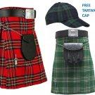 Royal Stewart Tartan Kilts for Men, AND Irish Kilts for Men Deal (2 in 1) 32 Size FREE Baseball Cap