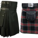 44 Size Black Cotton Leather Straps Kilts, AND Black Stewart Tartan Kilts for Men (2 in 1) Deal