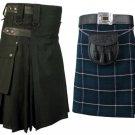 36 Size Blue Douglas Tartan Kilt for Men AND Men's Black Cotton Utility Kilts, (2 in 1) Deal