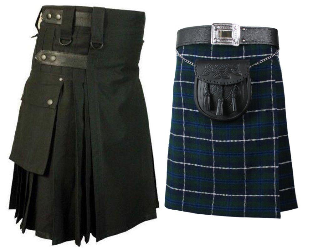 40 Size Blue Douglas Tartan Kilt for Men AND Men's Black Cotton Utility Kilts, (2 in 1) Deal