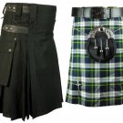 44 Size Dress Gordon Tartan Kilt for Men AND Men's Black Cotton Utility Kilts, (2 in 1) Deal