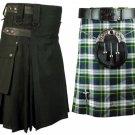 46 Size Dress Gordon Tartan Kilt for Men AND Men's Black Cotton Utility Kilts, (2 in 1) Deal