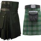 32 Size Irish Tartan Kilt for Men AND Men's Black Cotton Utility Kilts (Buy 1 Get 1 FREE)