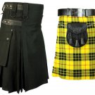 46 Size McLeod Of Lewis Tartan Kilt for Men & Men's Black Cotton Utility Kilt (Buy 1 Get 1 FREE)