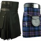 36 Size Pride Of Scotland Tartan Kilt for Men & Men's Black Cotton Utility Kilt (Buy 1 Get 1 FREE)