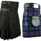 40 Size Pride Of Scotland Tartan Kilt for Men & Men's Black Cotton Utility Kilt (Buy 1 Get 1 FREE)