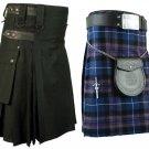 44 Size Pride Of Scotland Tartan Kilt for Men & Men's Black Cotton Utility Kilt (Buy 1 Get 1 FREE)