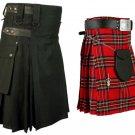 32 Size Men's Black Cotton Utility Kilt & Royal Stewart Tartan Kilt for Men (Buy 1 Get 1 FREE)