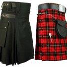46 Size Men's Black Cotton Utility Kilt & Wallace Tartan Kilt for Men (Buy 1 Get 1 FREE)