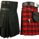 50 Size Men's Black Cotton Utility Kilt & Wallace Tartan Kilt for Men (Buy 1 Get 1 FREE)