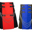 32 Size Men's Black & Red Hybrid Utility Cotton Kilt, Black & Blue Hybrid Utility Kilt