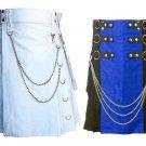 36 Size Men's White Chrome Chains Utility Kilt, Black & Blue Hybrid Utility Kilt For Men