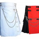 46 Size Men's White Chrome Chains Utility Kilt, Black & Red Hybrid Utility Kilt For Men