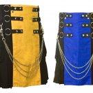 32 Size Men's Yellow & Black Chrome Chains Utility Kilts, Black & Blue Hybrid Utility Kilt