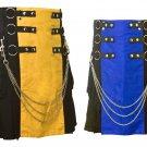 46 Size Men's Yellow & Black Chrome Chains Utility Kilts, Black & Blue Hybrid Utility Kilt