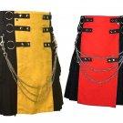 38 Size Men's Yellow & Black Chrome Chains Utility Kilts, Red & Black Hybrid Utility Kilt