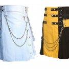 42 Size Men's White Chrome Chains Utility Kilts, Yellow & Black Chrome Chains Utility Kilts