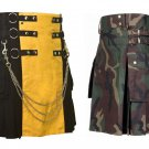 32 Size US Army Camo Utility Kilts, Yellow & Black Chrome Chains Utility Kilts