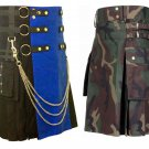 32 Size US Army Camo Tactical Kilts, Blue & Black Chrome Chains Utility Kilts