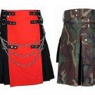 44 Size US Army Camo Tactical Kilts, Red & Black Chrome Chains Utility Kilts