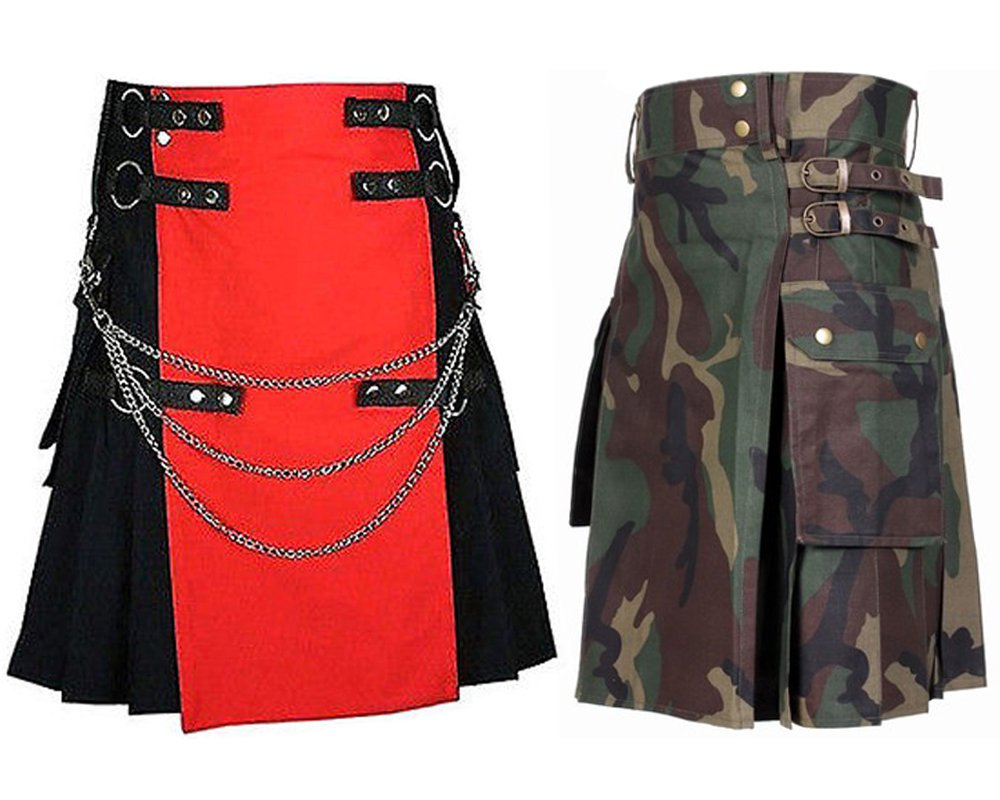 48 Size US Army Camo Tactical Kilts, Red & Black Chrome Chains Utility Kilts