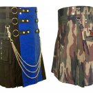 40 Size Jungle Camo Tactical Duty Kilts, Blue & Black Chrome Chains Utility Kilts