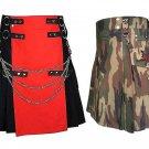 32 Size Jungle Camo Tactical Duty Kilts, Red & Black Chrome Chains Utility Kilts