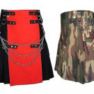 46 Size Jungle Camo Tactical Duty Kilts, Red & Black Chrome Chains Utility Kilts