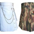 32 Size Jungle Camo Tactical Duty Kilts, White Chrome Chains Utility Kilts For Men