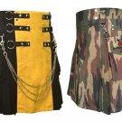 36 Size Jungle Camo Tactical Duty Kilts, Yellow & Black Chrome Chains Utility Kilts