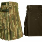 32 Size Jungle Camo Tactical Duty Kilts, Chocolate Brown Utility Kilts For Men
