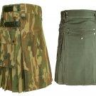 48 Size Jungle Camo Tactical Duty Kilts, Olive Green Cotton Utility Kilts For Men