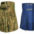 30 Size Royal Blue Utility Kilts For Men, Jungle Camo Tactical Duty Kilts