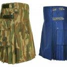 44 Size Royal Blue Utility Kilts For Men, Jungle Camo Tactical Duty Kilts
