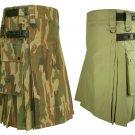 36 Size Khaki Leather Straps Kilts For Men, Jungle Camo Tactical Duty Kilts
