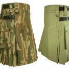 46 Size Khaki Leather Straps Kilts For Men, Jungle Camo Tactical Duty Kilts