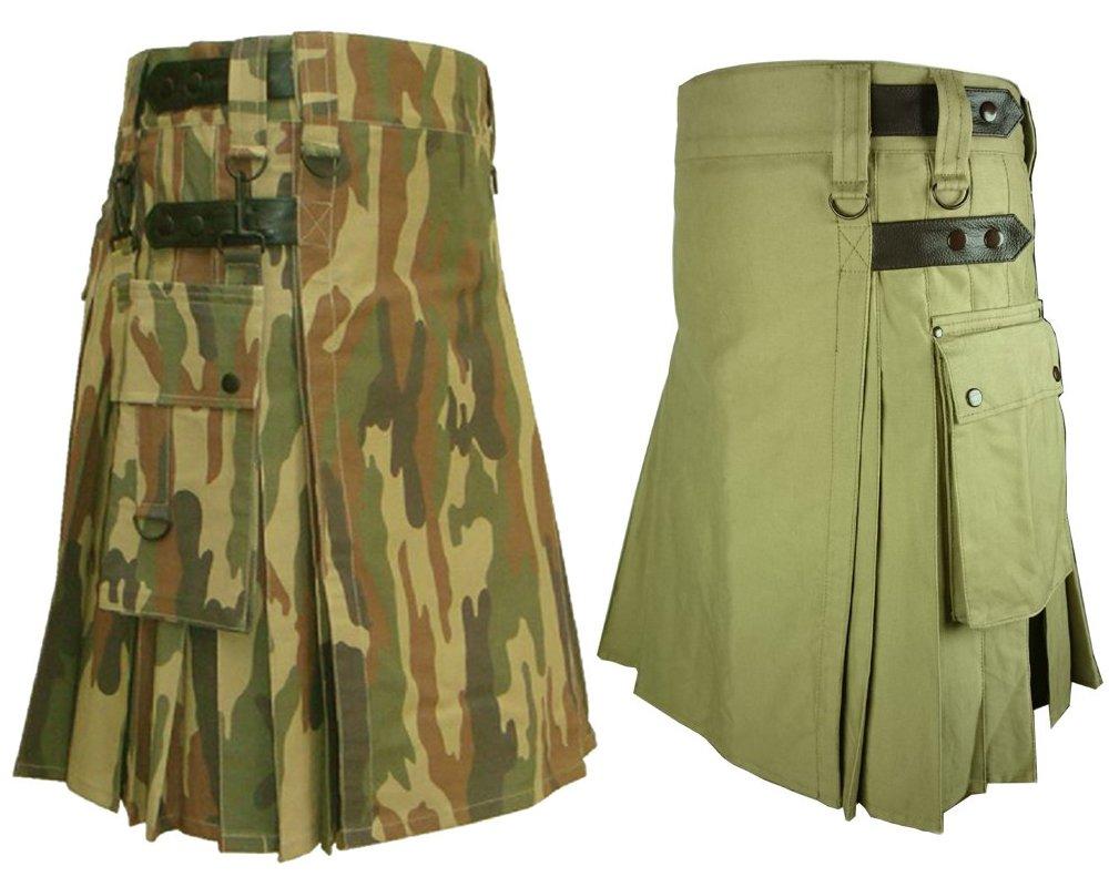50 Size Khaki Leather Straps Kilts For Men, Jungle Camo Tactical Duty Kilts