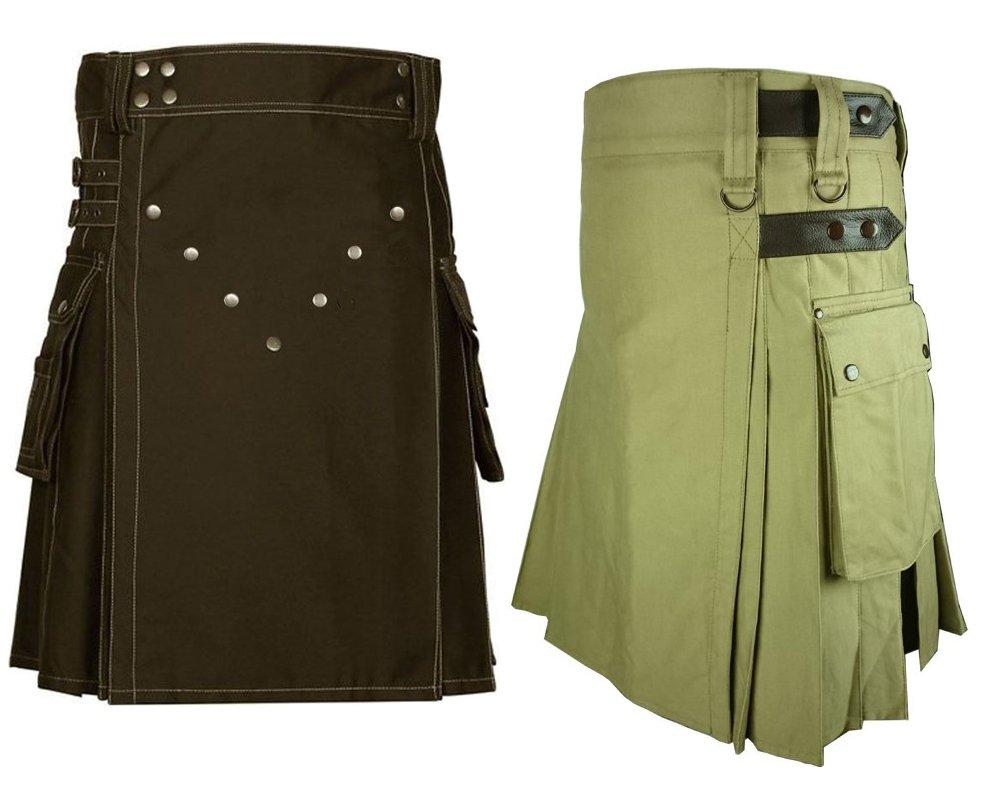 30 Size Men's Khaki Leather Straps Utility Kilts, Chocolate Brown Utility Kilts For Men