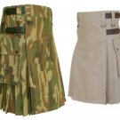 32 Size Jungle Camo Utility Kilts For Men, Men's Leather Straps Khaki Utility Kilts