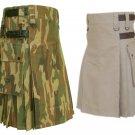 44 Size Jungle Camo Utility Kilts For Men, Men's Leather Straps Khaki Utility Kilts