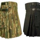 32 Size Jungle Camo Utility Kilts For Men, Men's Leather Straps Black Utility Kilts
