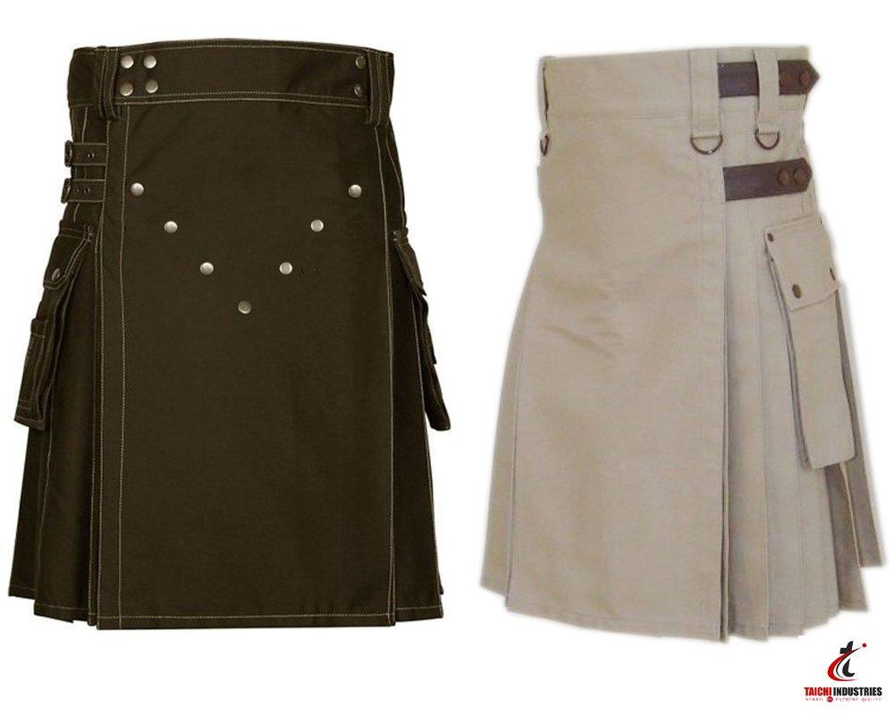 42 Size Khaki Cotton Utility Kilts For Men, Men's Chocolate Brown Utility Kilts
