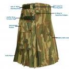 42 Size Army Camo Utility  Kilt With Leather Straps